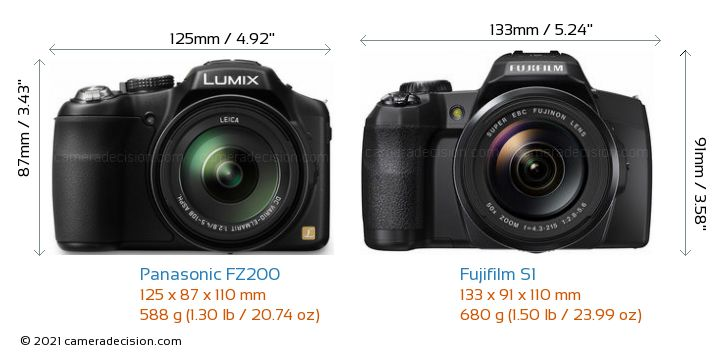 Panasonic FZ200 vs Fujifilm S1 Camera Size Comparison - Front View