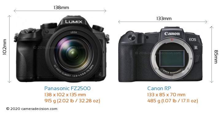 Panasonic FZ2500 vs Canon RP Camera Size Comparison - Front View