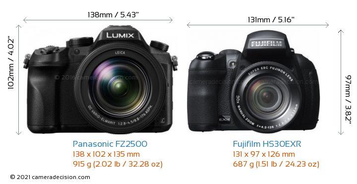 Panasonic FZ2500 vs Fujifilm HS30EXR Camera Size Comparison - Front View