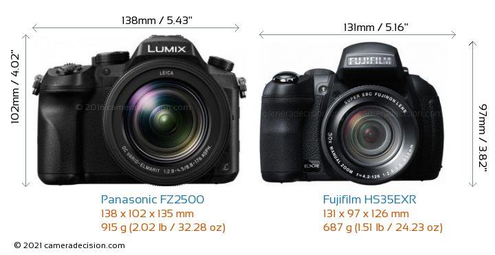 Panasonic FZ2500 vs Fujifilm HS35EXR Camera Size Comparison - Front View