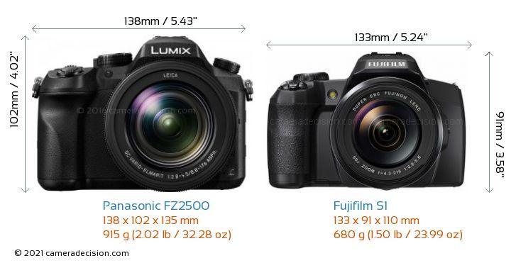 Panasonic FZ2500 vs Fujifilm S1 Camera Size Comparison - Front View