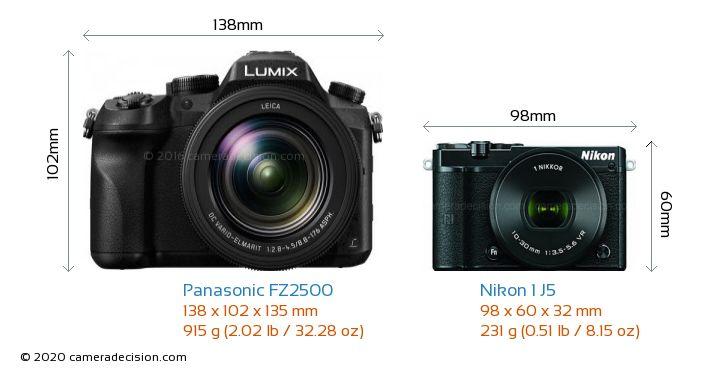 Panasonic FZ2500 vs Nikon 1 J5 Camera Size Comparison - Front View