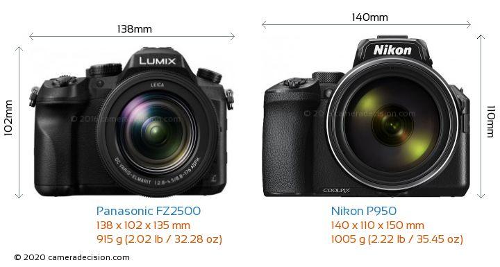 Panasonic FZ2500 vs Nikon P950 Camera Size Comparison - Front View