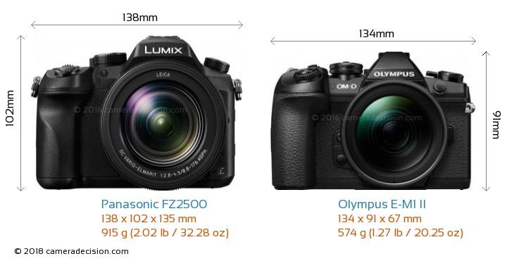 Panasonic FZ2500 vs Olympus E-M1 II Camera Size Comparison - Front View