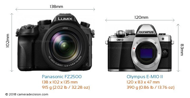 Panasonic FZ2500 vs Olympus E-M10 II Camera Size Comparison - Front View