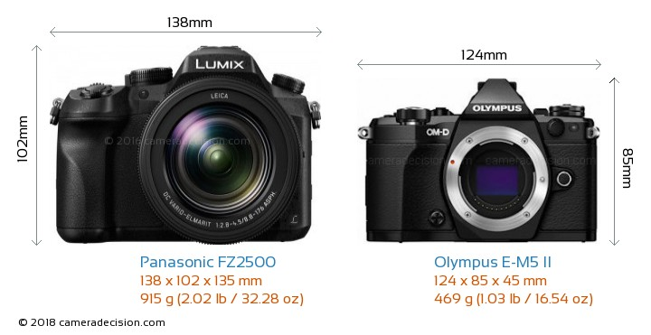 Panasonic FZ2500 vs Olympus E-M5 II Camera Size Comparison - Front View