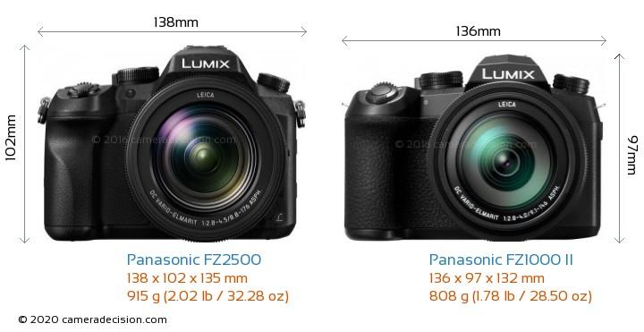Panasonic FZ2500 vs Panasonic FZ1000 II Camera Size Comparison - Front View