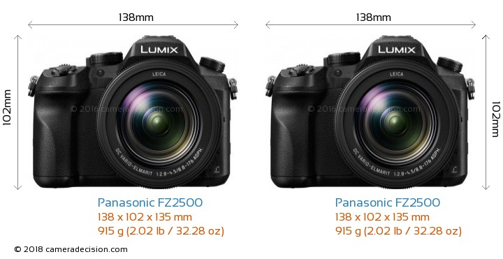 Panasonic FZ2500 vs Panasonic FZ2500 Camera Size Comparison - Front View