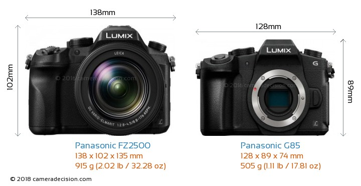 Panasonic FZ2500 vs Panasonic G85 Camera Size Comparison - Front View