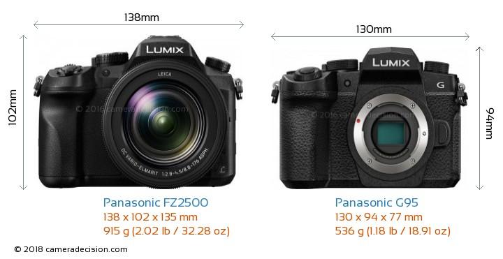 Panasonic FZ2500 vs Panasonic G95 Camera Size Comparison - Front View