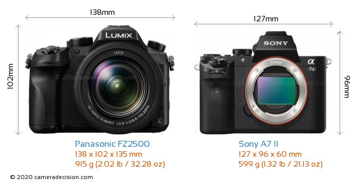 Panasonic FZ2500 vs Sony A7 II Camera Size Comparison - Front View