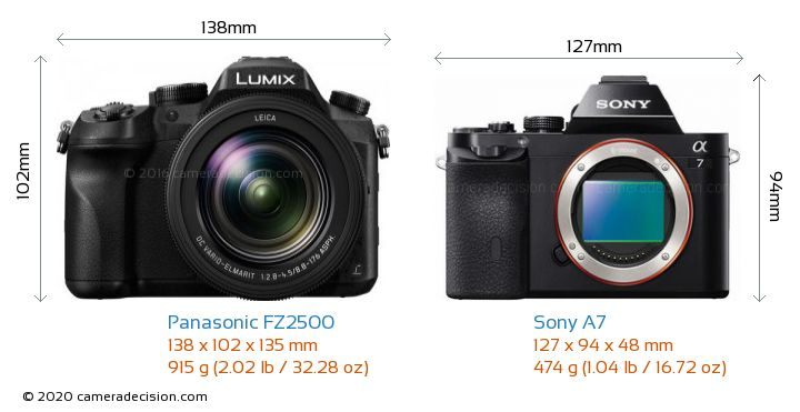 Panasonic FZ2500 vs Sony A7 Camera Size Comparison - Front View