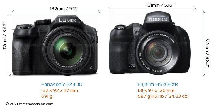 Panasonic FZ300 vs Fujifilm HS30EXR Camera Size Comparison - Front View