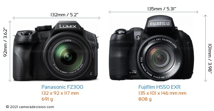 Panasonic FZ300 vs Fujifilm HS50 EXR Camera Size Comparison - Front View