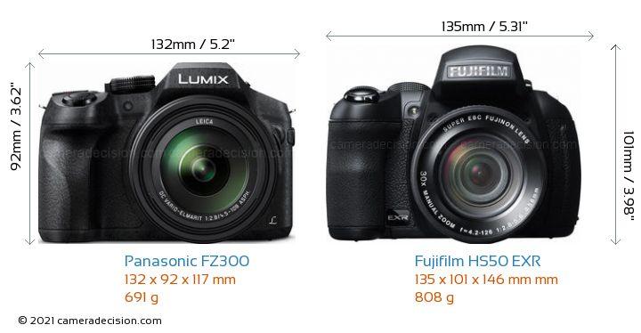 Panasonic FZ300 vs Fujifilm HS50 EXR Camera Size Comparison - Front View