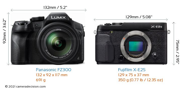 Panasonic FZ300 vs Fujifilm X-E2S Camera Size Comparison - Front View