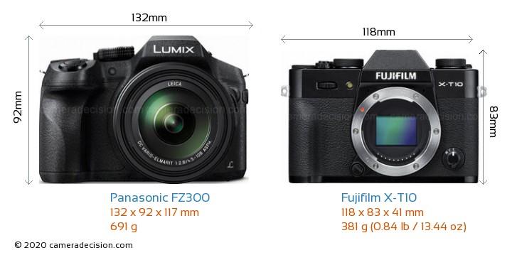 Panasonic FZ300 vs Fujifilm X-T10 Camera Size Comparison - Front View