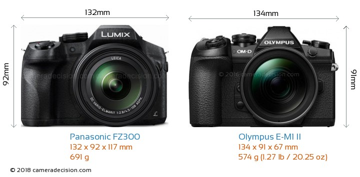Panasonic FZ300 vs Olympus E-M1 II Camera Size Comparison - Front View