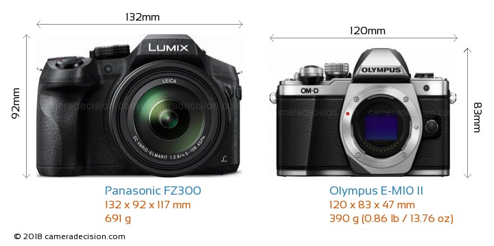 Panasonic FZ300 vs Olympus E-M10 II Camera Size Comparison - Front View