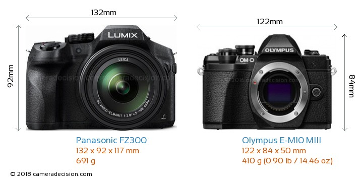 Panasonic FZ300 vs Olympus E-M10 MIII Camera Size Comparison - Front View