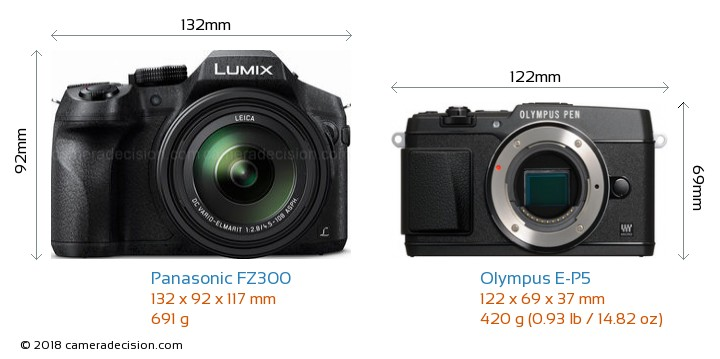Panasonic FZ300 vs Olympus E-P5 Camera Size Comparison - Front View