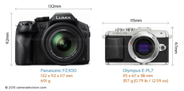 Panasonic FZ300 vs Olympus E-PL7 Camera Size Comparison - Front View