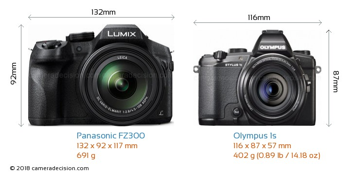 Panasonic FZ300 vs Olympus 1s Camera Size Comparison - Front View