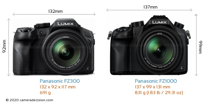 Panasonic FZ300 vs Panasonic FZ1000 Camera Size Comparison - Front View