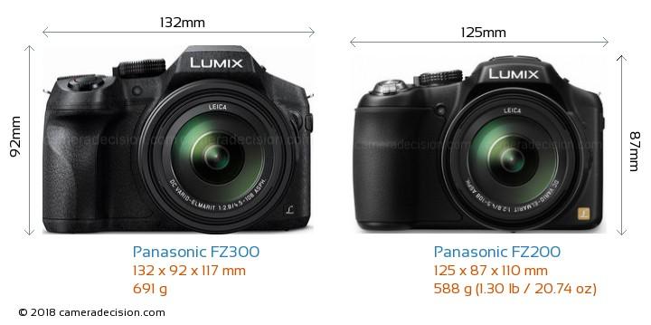 Panasonic FZ300 vs Panasonic FZ200 Camera Size Comparison - Front View