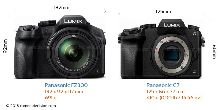 Panasonic FZ300 vs Panasonic G7 Camera Size Comparison - Front View