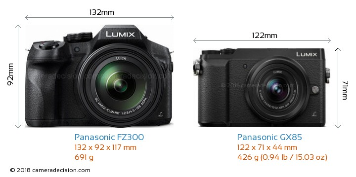 Panasonic FZ300 vs Panasonic GX85 Camera Size Comparison - Front View