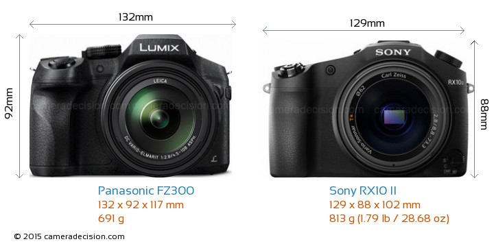 Panasonic FZ300 vs Sony RX10 II Camera Size Comparison - Front View