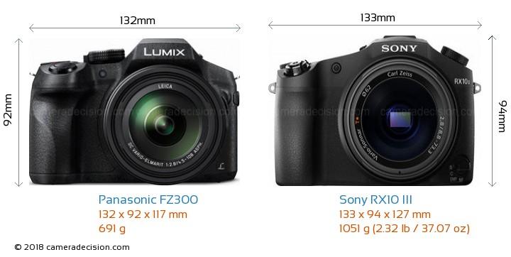 Panasonic FZ300 vs Sony RX10 III Camera Size Comparison - Front View