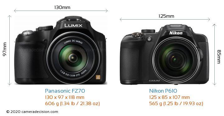 Panasonic FZ70 vs Nikon P610 Camera Size Comparison - Front View