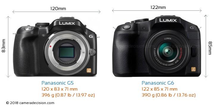 Panasonic G5 vs Panasonic G6 Camera Size Comparison - Front View