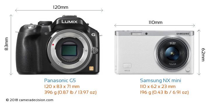 Panasonic G5 vs Samsung NX mini Camera Size Comparison - Front View