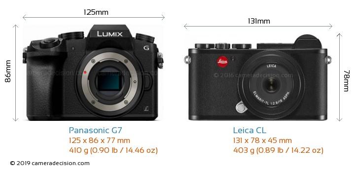 Panasonic G7 vs Leica CL Camera Size Comparison - Front View