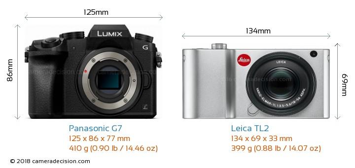 Panasonic G7 vs Leica TL2 Camera Size Comparison - Front View