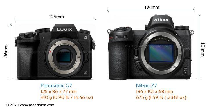 Panasonic G7 vs Nikon Z7 Camera Size Comparison - Front View