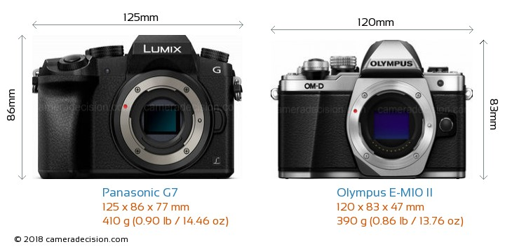 Panasonic G7 vs Olympus E-M10 II Camera Size Comparison - Front View