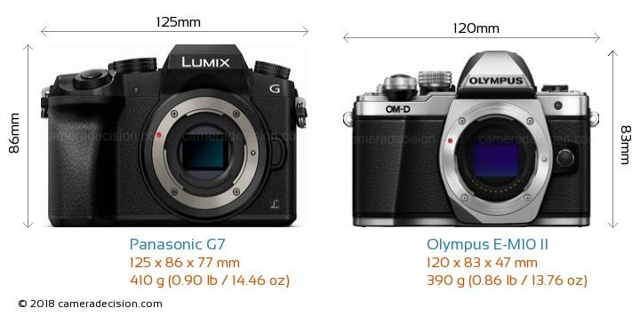 Panasonic G7 vs Olympus E-M10 II Camera Size Comparison - Front View