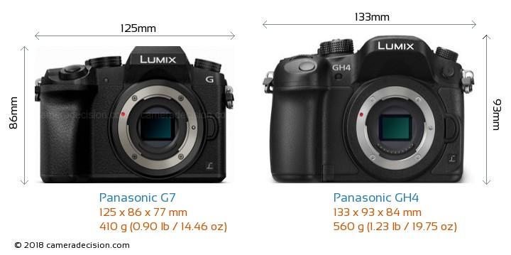Panasonic G7 vs Panasonic GH4 Camera Size Comparison - Front View