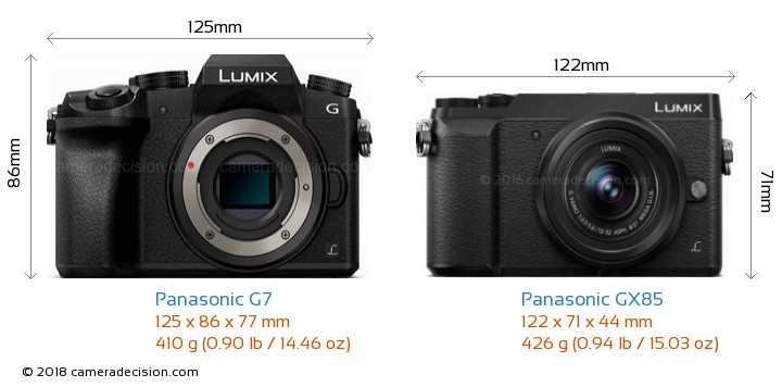Panasonic G7 vs Panasonic GX85 Camera Size Comparison - Front View