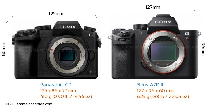Panasonic G7 vs Sony A7R II Camera Size Comparison - Front View