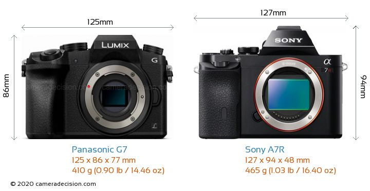 Panasonic G7 vs Sony A7R Camera Size Comparison - Front View