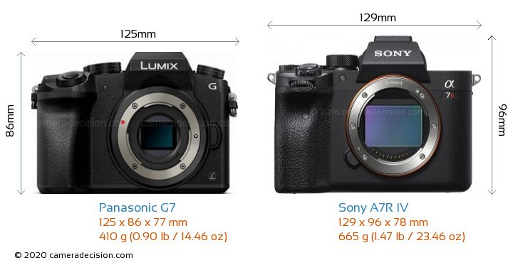 Panasonic G7 vs Sony A7R IV Camera Size Comparison - Front View