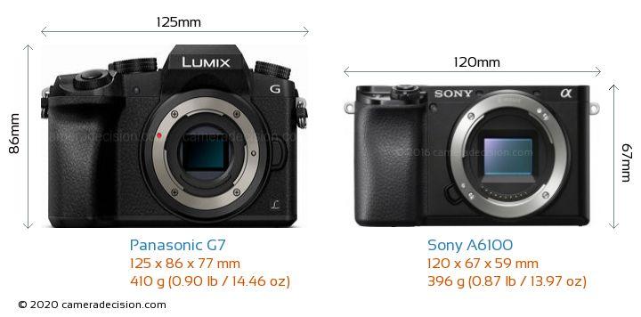 Panasonic G7 vs Sony A6100 Camera Size Comparison - Front View