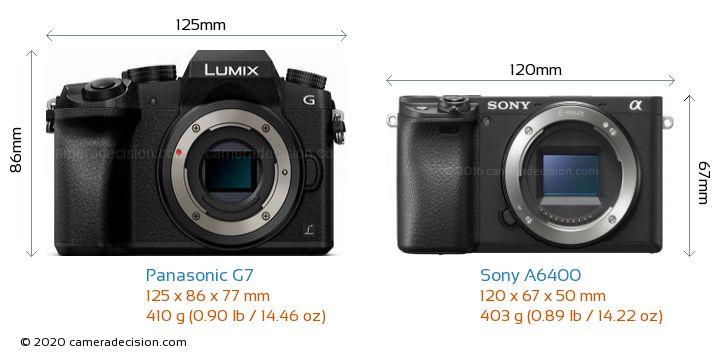 Panasonic G7 vs Sony A6400 Camera Size Comparison - Front View