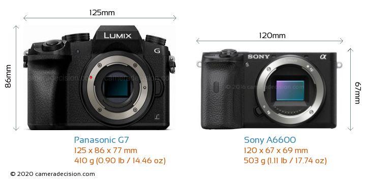 Panasonic G7 vs Sony A6600 Camera Size Comparison - Front View
