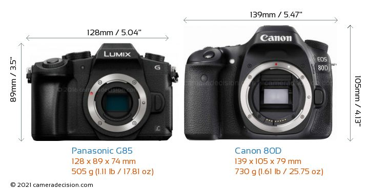 Panasonic G85 vs Canon 80D Camera Size Comparison - Front View